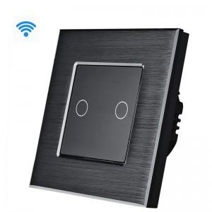 Wifi pametni prekidač, 2 tastera, aluminijumski panel crni