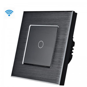 Wifi pametni prekidač, 1 taster, aluminijumski panel crni