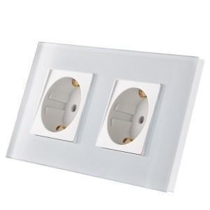 Wifi pametna utičnica, modularna dupla – stakleni panel – 16A