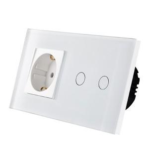 Wifi pametni prekidac 2 tastera i uticnica – modularni, stakleni panel